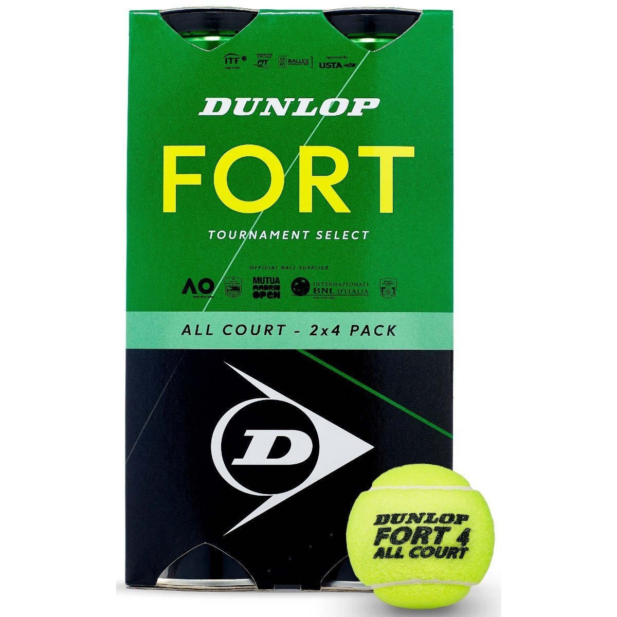 Bipack 2 Tubes de 4 balles Dunlop Fort All Court TS - Mytennishop