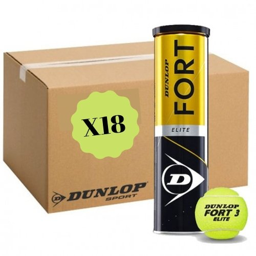 Carton de 18 tubes de 4 balles Dunlop Fort Elite - Mytennishop