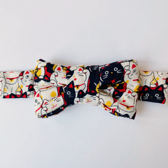 Maneki Neko (Lucky Cat) Print Bow Tie for Cats