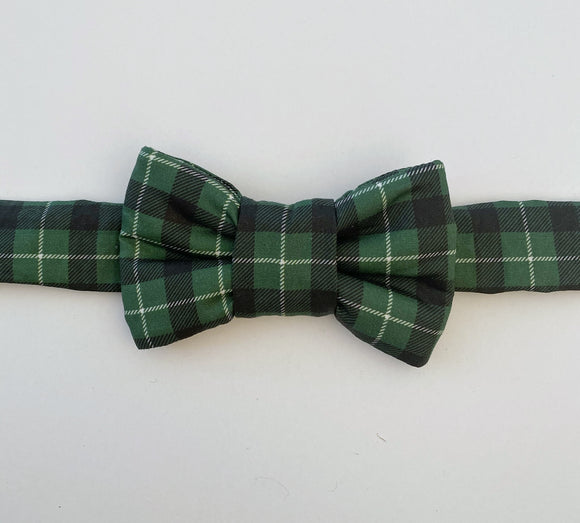Xmas Green Plaid Print Bow Tie Cat Collar