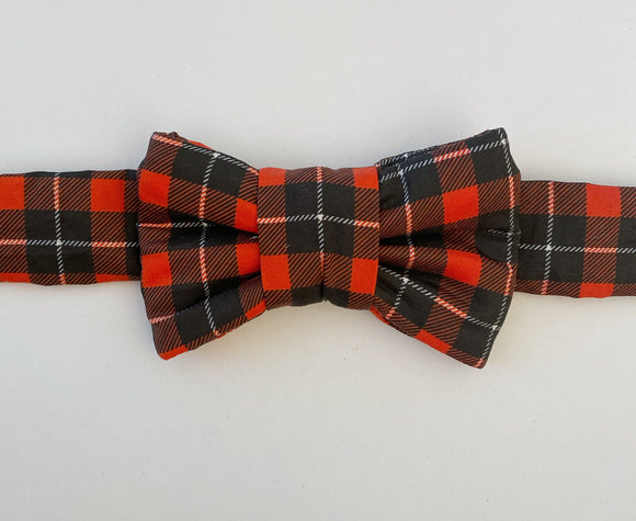 Red Plaid Print Bow Tie Cat Collar