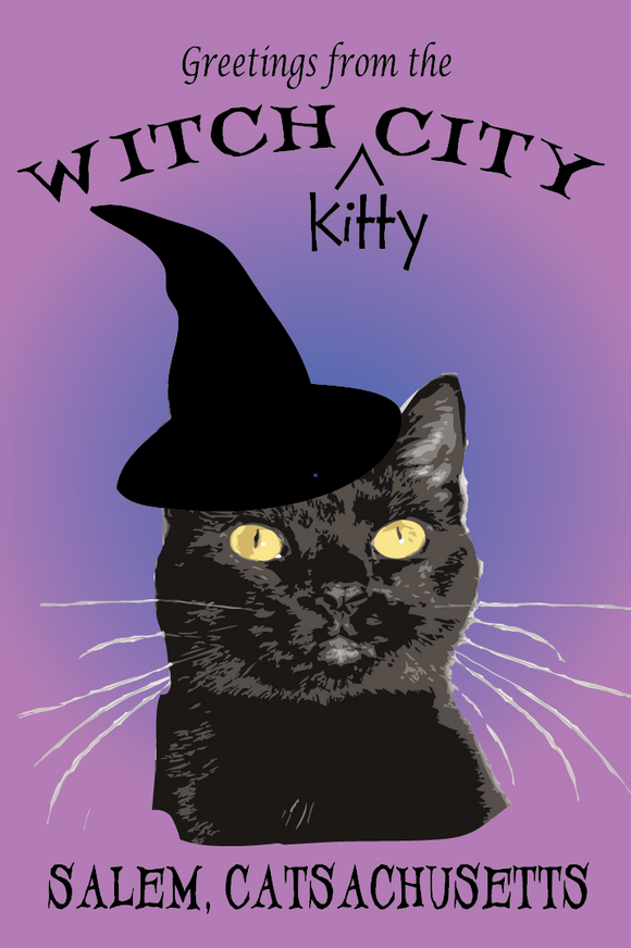 Witch Kitty City Postcard