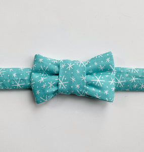Holiday Bow Tie For Cats- Blue Snowflakes
