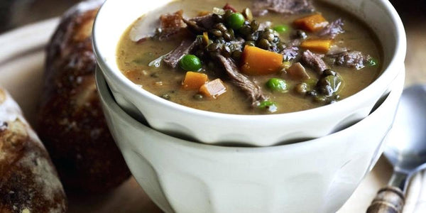 Keto diet meal that is warm and hearty fusion broth for lamb, veggies and herbal nutrients.