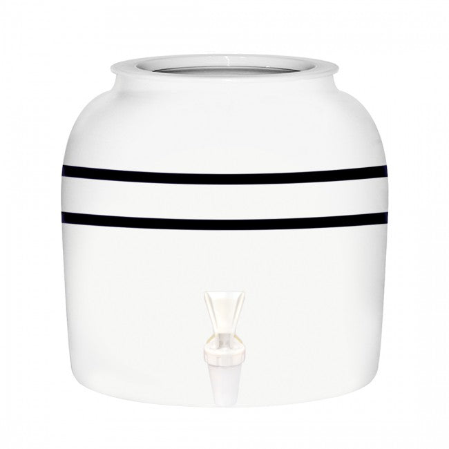 White Porcelain Ceramic Water Dispenser Crock with Faucet - LEAD FREE