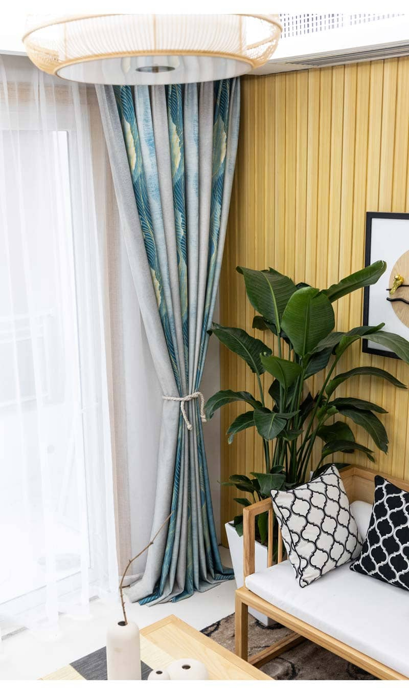 blue grey art painting lounge outdoor curtains custom insulated drapes