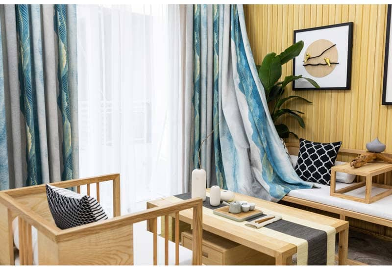 blue grey ink printed sitting room door curtains thermal pleated drapes