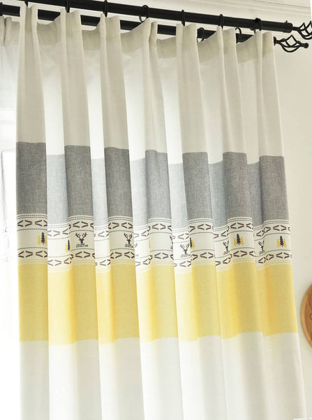 gray yellow stripe curtains