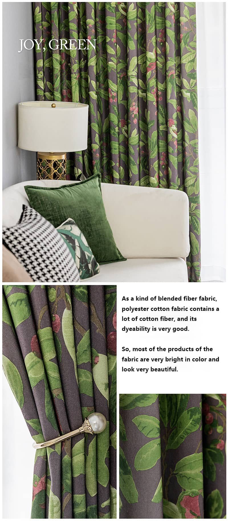 green leaf cherry tie back drapes room divider curtain panels