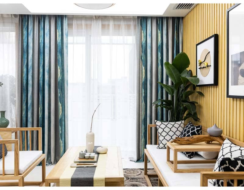 modern blue gray living room window curtains ceiling drapes for sale
