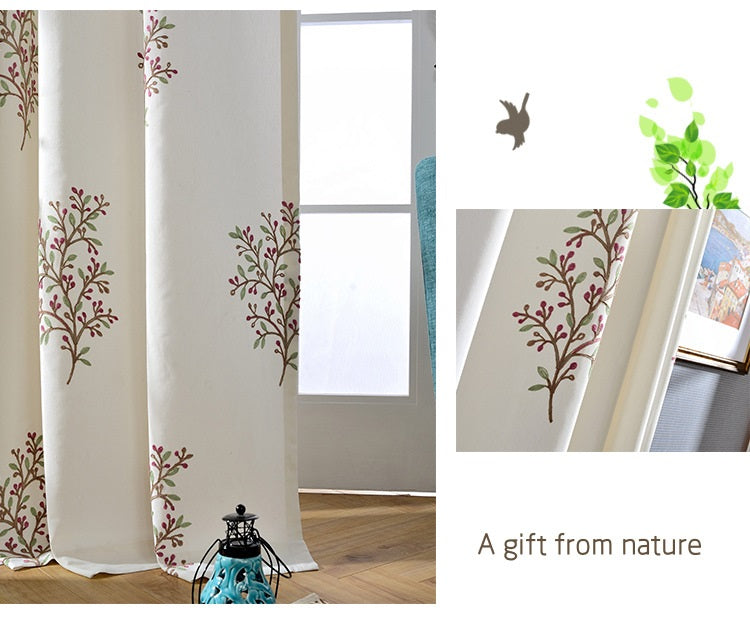 outdoor curtains-a gift from nature-fresh and simple embroidered curtains