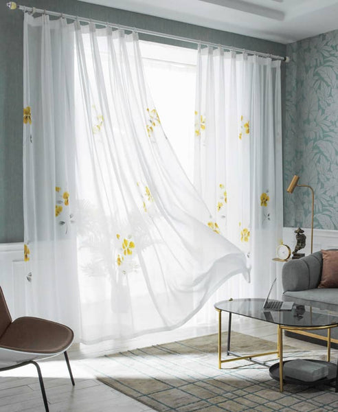 yellow flower white sheer curtains