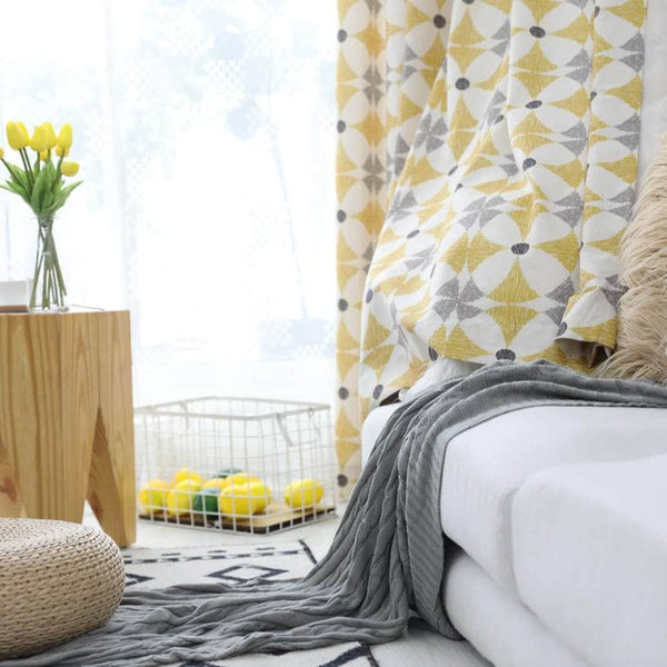 yellow geometry curtains