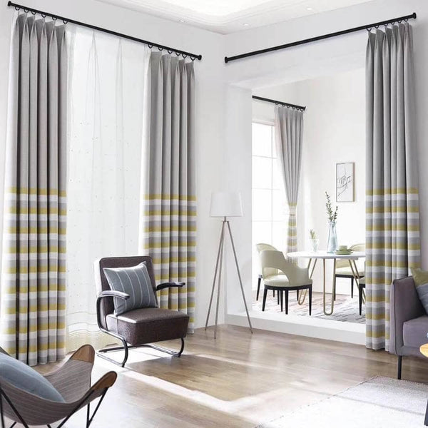yellow gray striped curtains for living room