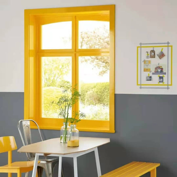 yellow window and grey wall