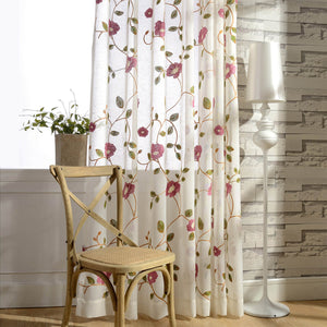 Anady Top Embroidered Green Leaf Flower Sheer Curtains - Anady Top Space Design