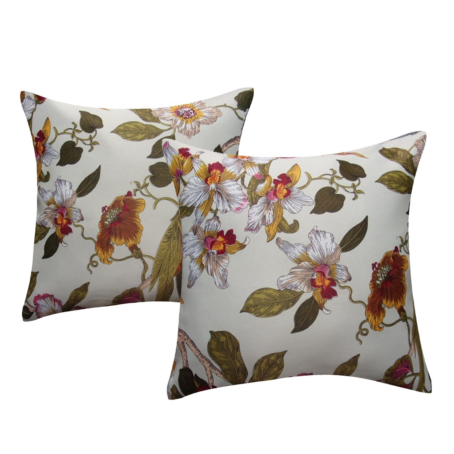Aandy Top Bird Red Flower Pillow Cover Cases 1 Set Of 2 2(18X18)