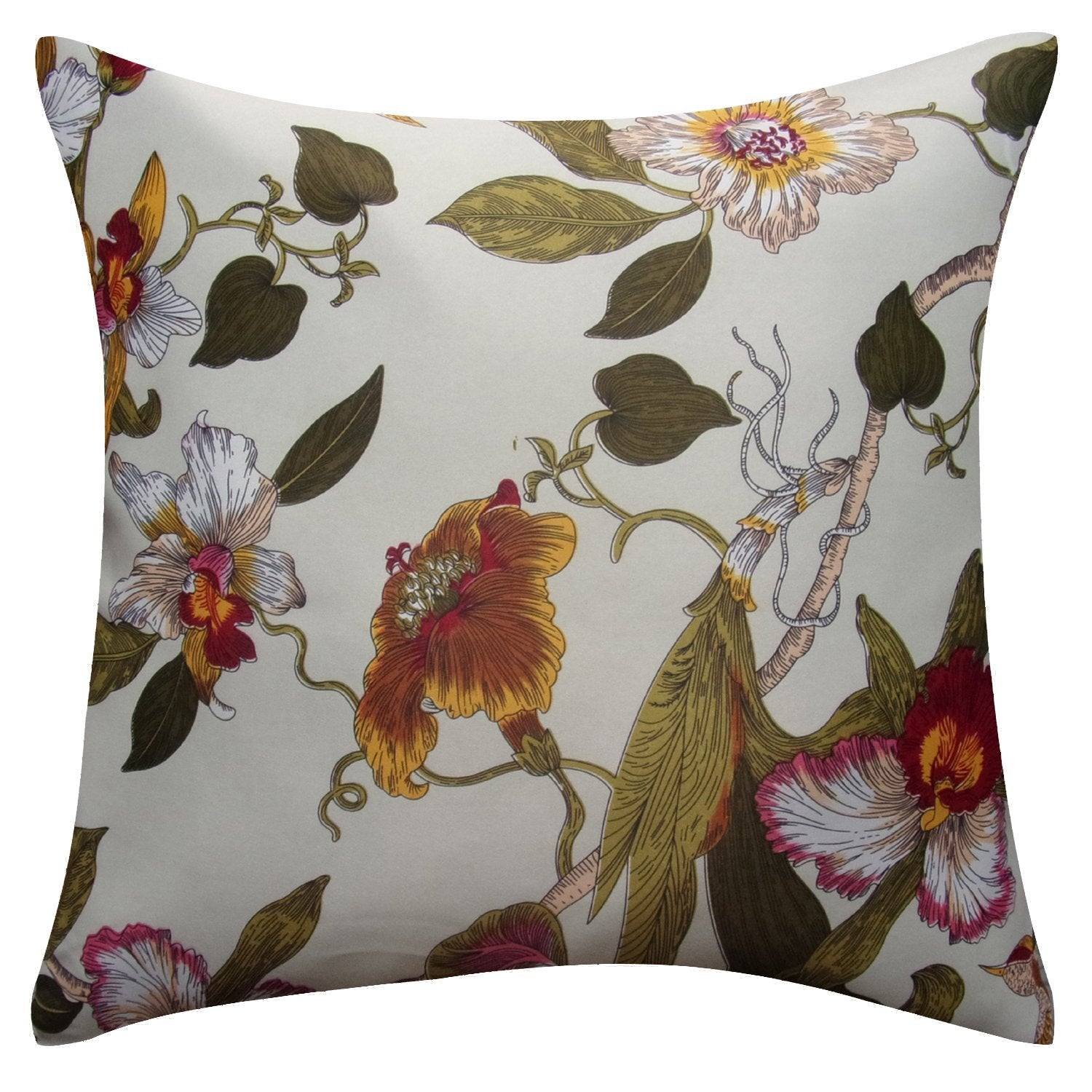Aandy Top Bird Red Flower Pillow Cover Cases 1 Set Of 2