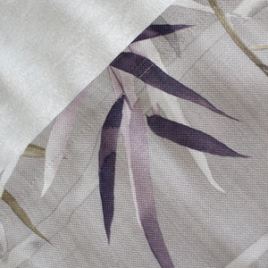 Grey Bamboo Leaf Curtains for Bedroom/Living Room 2 Panels Drapes - Anady Top Space Design