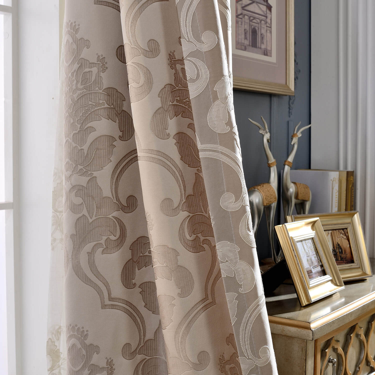 Classic Damascus Jacquard Curtains Gold Coffee Color Drapes