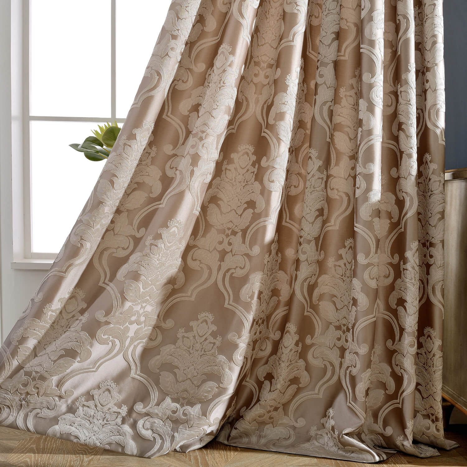 Classic Damascus Jacquard Curtains Gold Coffee Color Drapes Anady Top