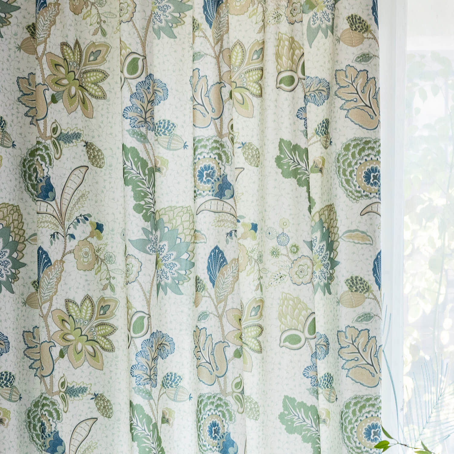 Green Leaf Blue Flower Curtains Jungle Pattern Drapes Anady Top