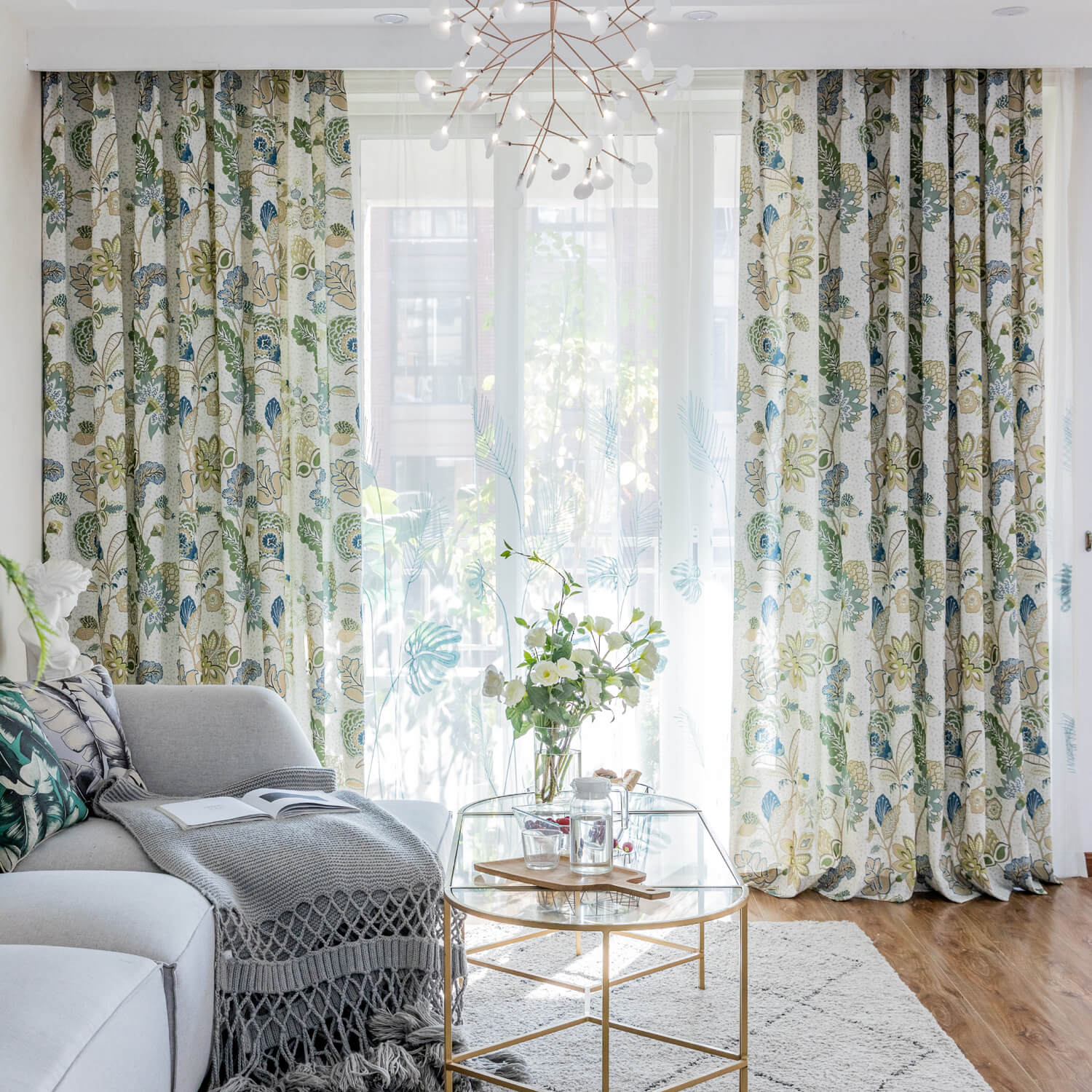 Green Leaf Blue Flower Curtains Jungle Pattern Drapes