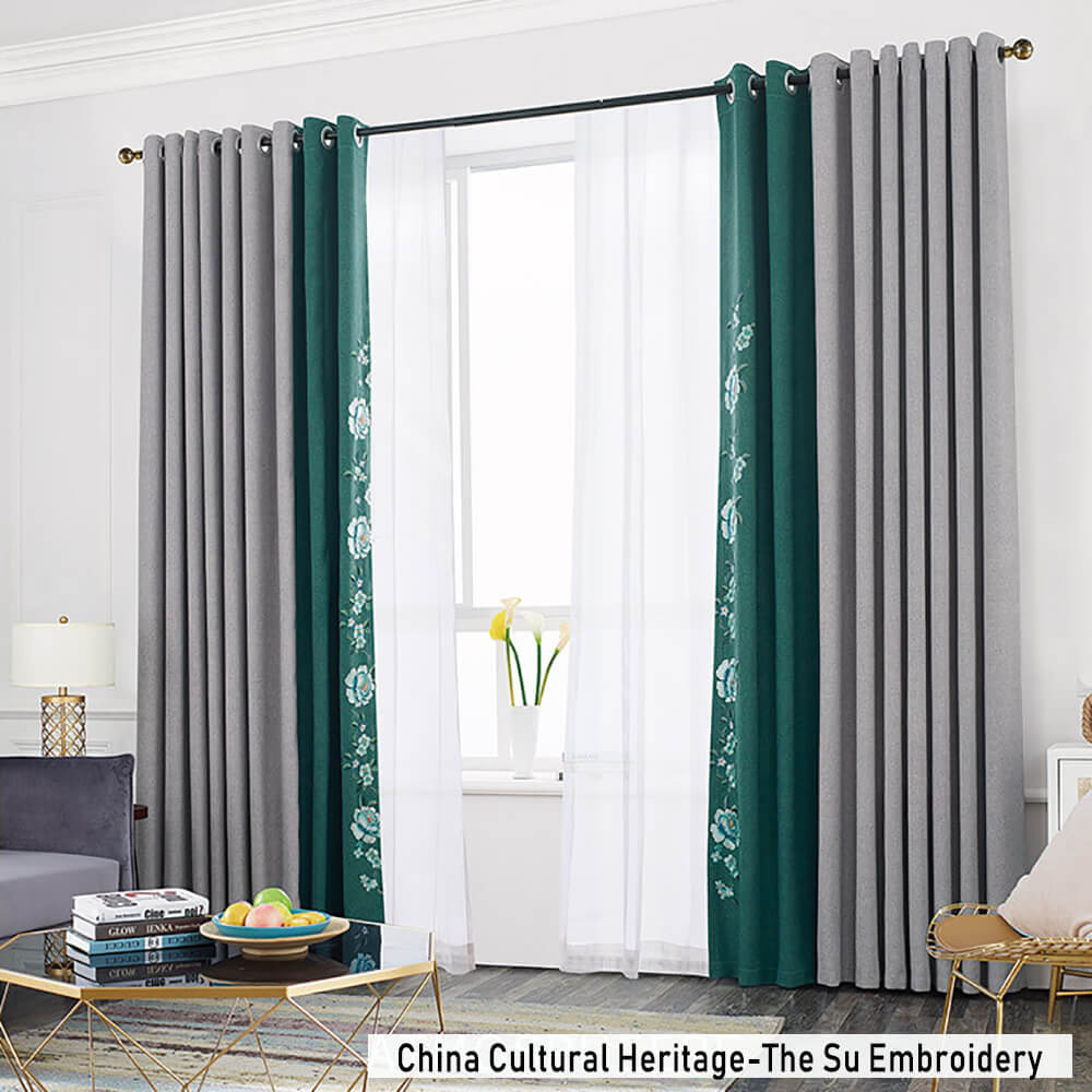 Anady Top The Su Embroidery Curtains Gray Green Darkening Drapes China Cultural Heritage 1 Set of 2 Panels - Anady Top Space Design