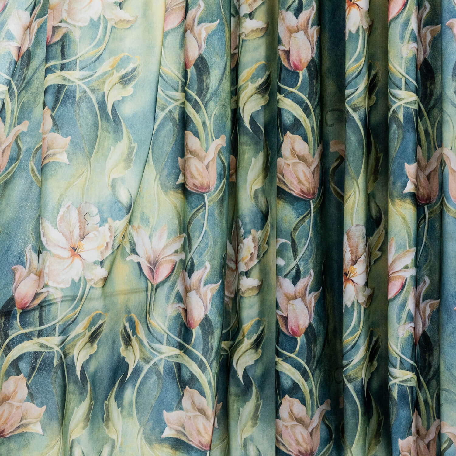 Beautiful Flowers in Green Rainforest Curtains Art Painting Drapes for Living Room