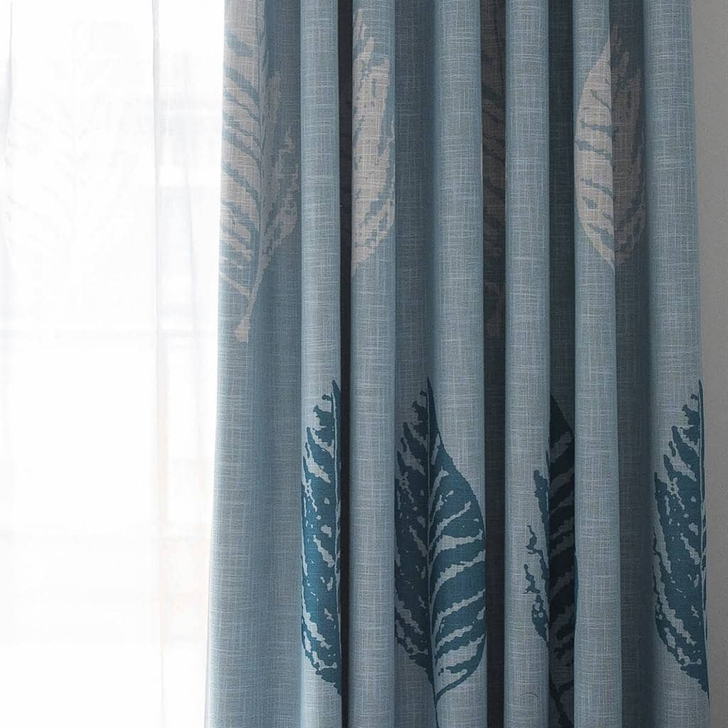 beautiful blue leaf kitchen curtains decorative sun blocking ceiling drapes