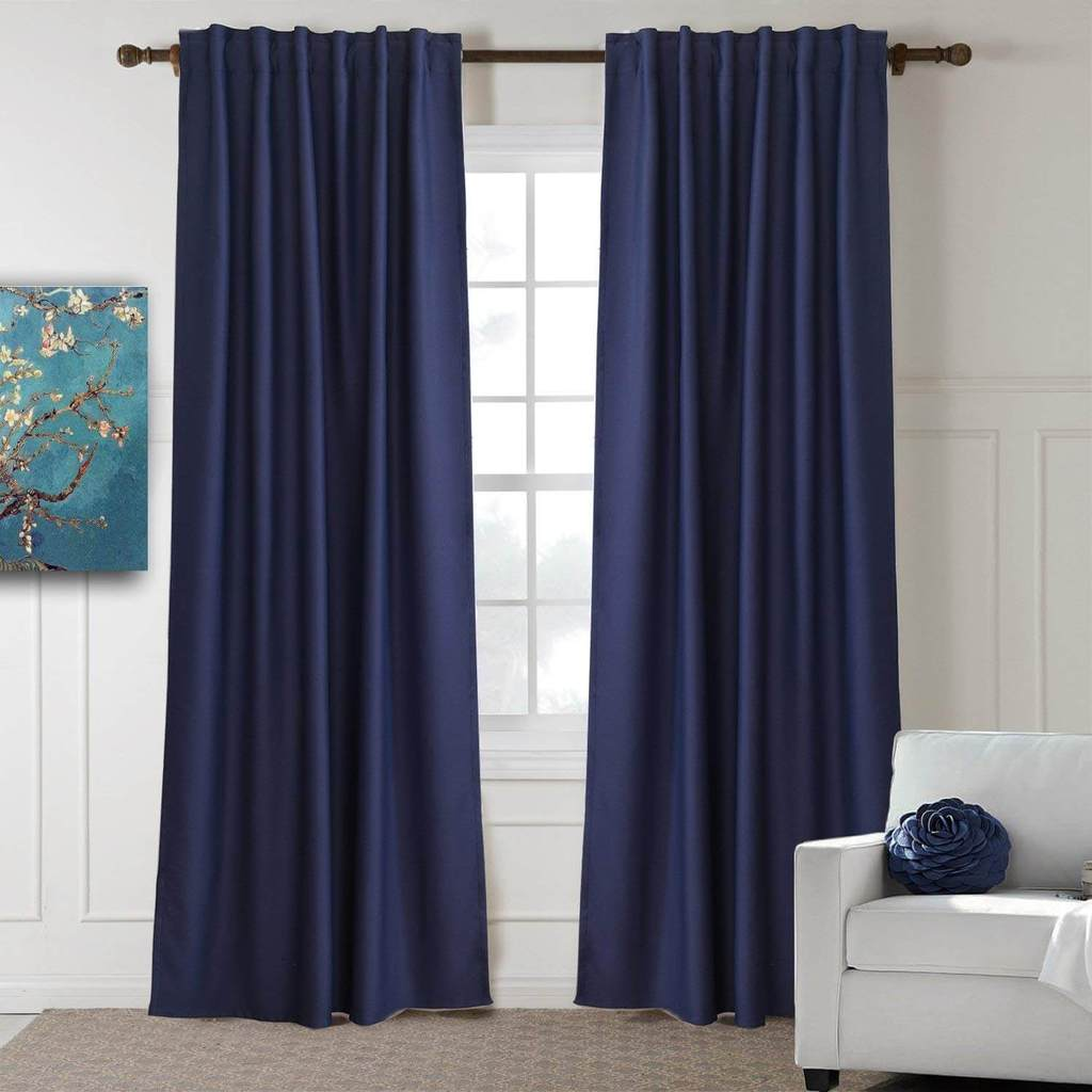 beautiful modern navy back tab room darkening curtains for living room