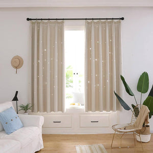 Beige hollowed star curtains with romantic sheer for living room