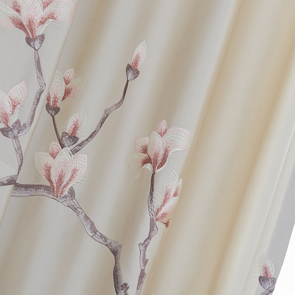 Embroidered Magnolia Flower Beige Curtains Gorgeous Drapes