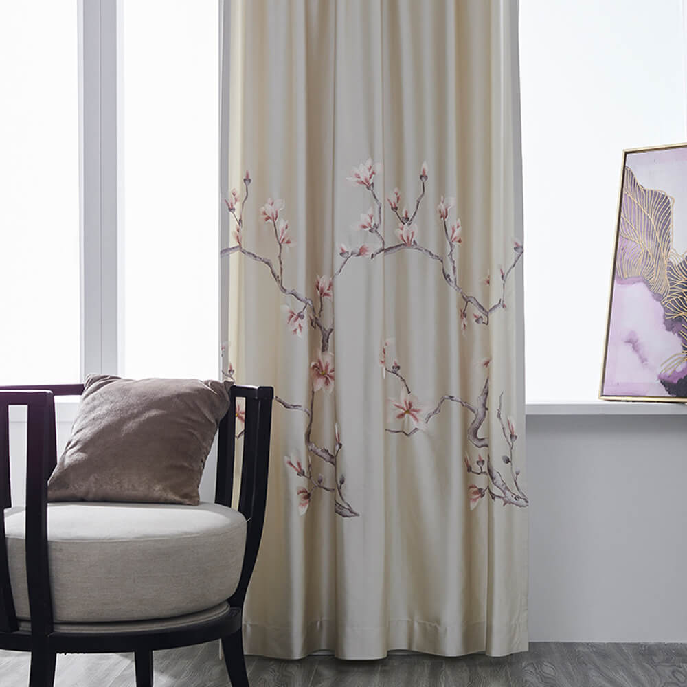 High-end Embroidered Magnolia Flower Ivory Curtains Gorgeous Drapes