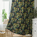 Flower Blackout Black Curtains and Drapes for Bedroom 1 Set of 2 Panels