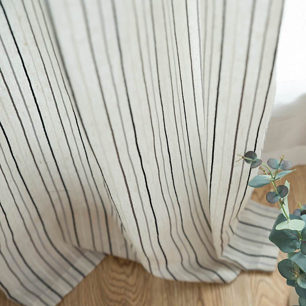 White Black Striped Voile Linen Sheer For Living Room 2 Panels Pinch Pleat / 2P(42W 63L)