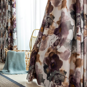 Purple and Brown Flower Curtains for Bedroom Art Watercolor Blackout Drapes
