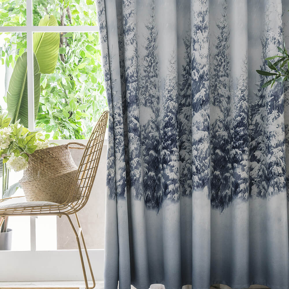 Snowy Forest Curtains for Bedroom Room Elegant Modern White Blue Drapes