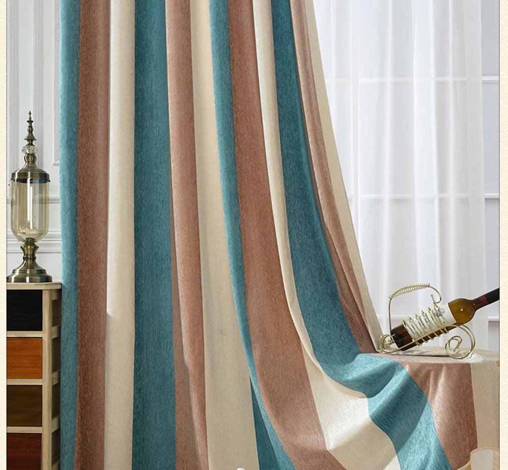 Blue brown beige striped curtains chenille bedroom drapes for sale
