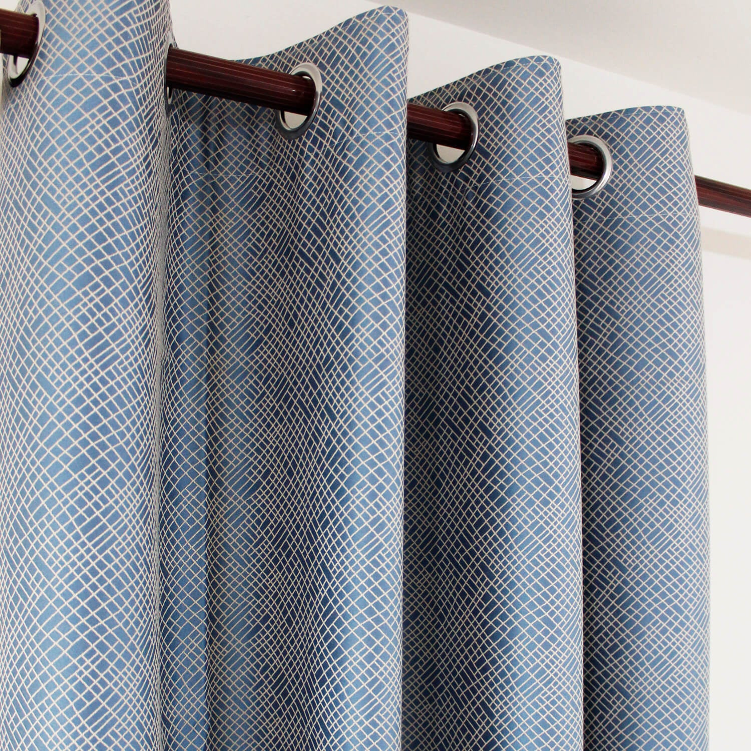 Cotton Soft Blue Curtains Small Texture Block Drapes 2 Panels for Bedroom - Anady Top Space Design