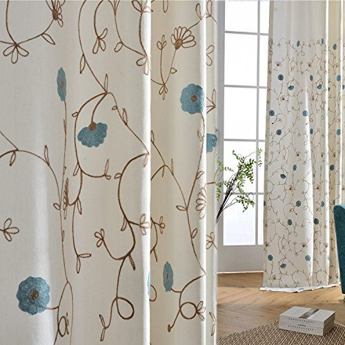 Anady Top Embroidered Blue Flower White Curtains 2 Panels - Anady Top Space Design