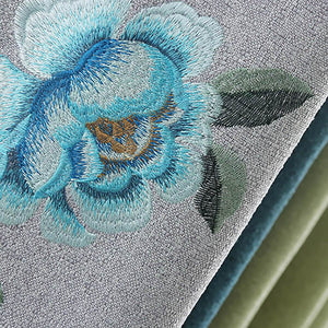 blue flower embroidered grey curtains green pinch pleat drapes for sale