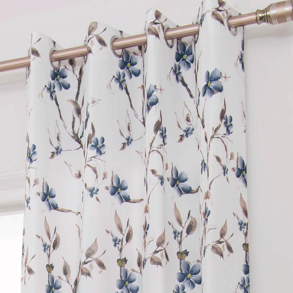 blue flower white grommet curtains custom drapes for sale
