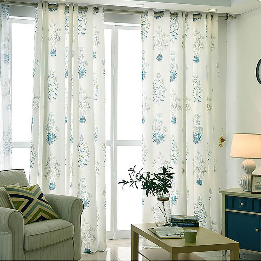 Blue leaf white curtains living room ceiling drapes for sale