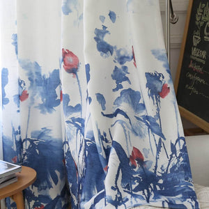 Blue lotus patterned curtains for sale pinch pleat drapes