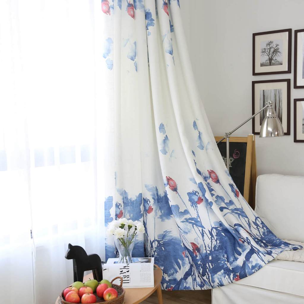 Blue lotus white curtains watercolor living room drapes for sale