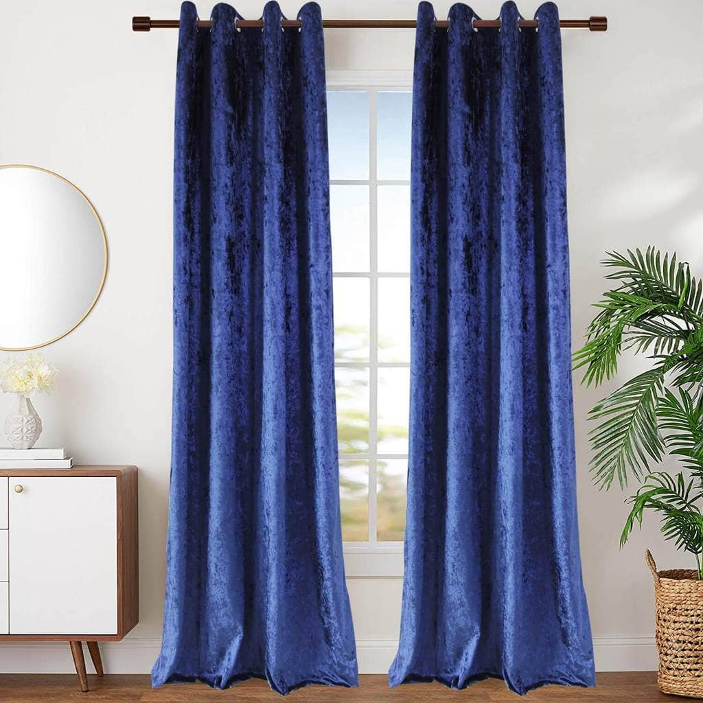blue velvet curtains living room thermal window drapes for sale