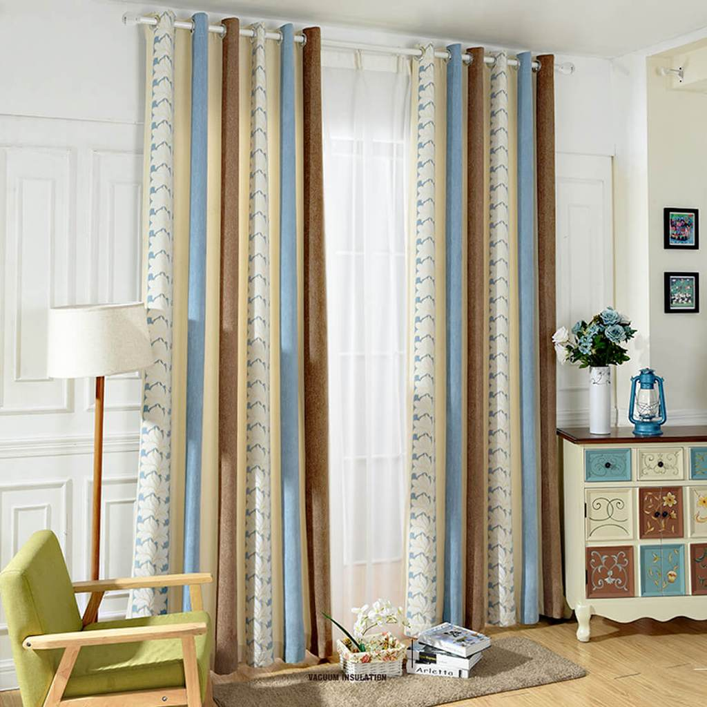 Blue white flower curtains striped chenille grommet drapes for bedroom
