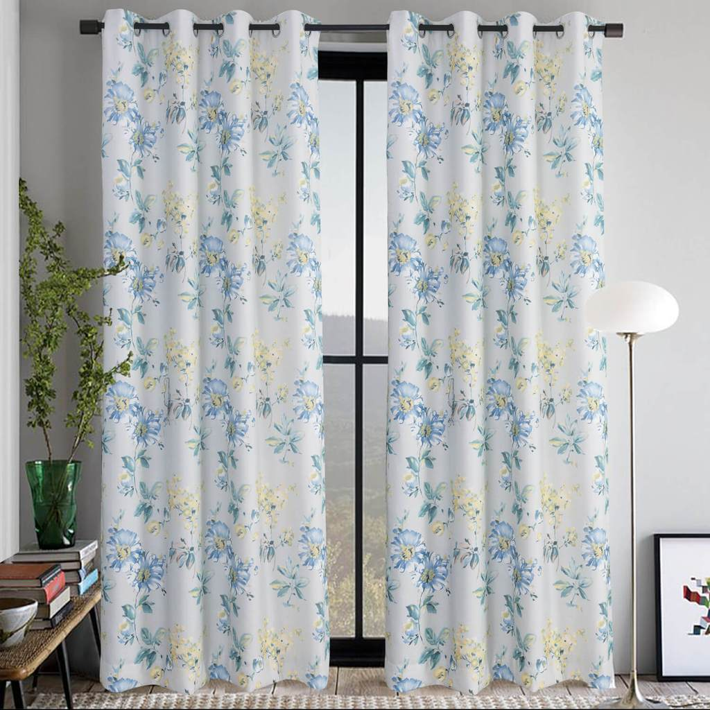 Anady Top Blue Yellow Flower Curtains Country Light Gray Drapes 2 Panels
