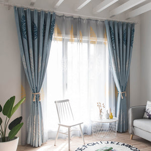 Aandy Top Blue Blackout Curtains Cotton Linen Leaf Drapes 2 Panels
